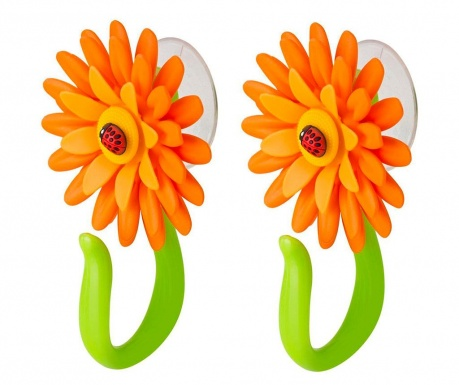 Set 2 obešalnikov Flower Power Hook Orange