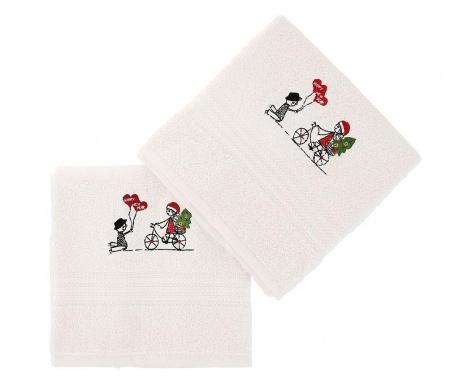 Σετ 2 πετσέτες μπάνιου Happy New Year White