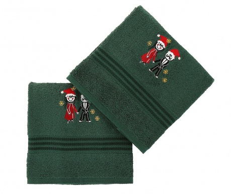 Σετ 2 πετσέτες μπάνιου Christmas Couple Green