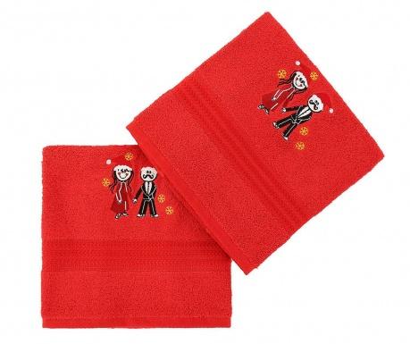 Σετ 2 πετσέτες μπάνιου Christmas Couple Red