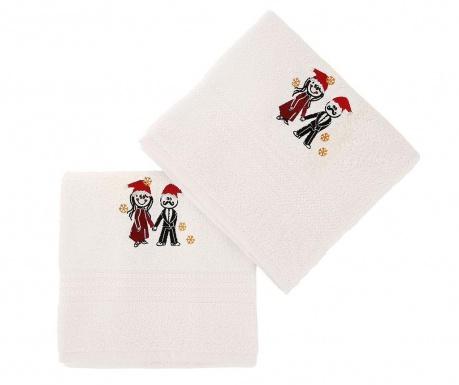 Σετ 2 πετσέτες μπάνιου Christmas Couple White