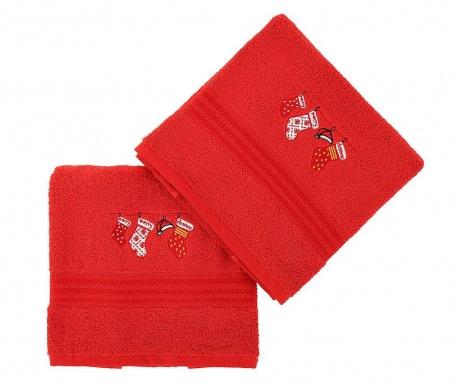 Σετ 2 πετσέτες μπάνιου Christmas Gifts Red
