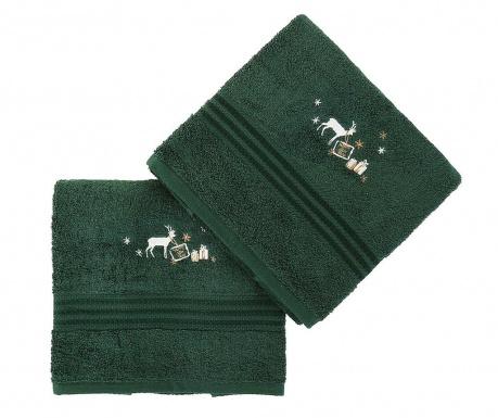 Σετ 2 πετσέτες μπάνιου Christmas Reindeer Green 50x90 cm
