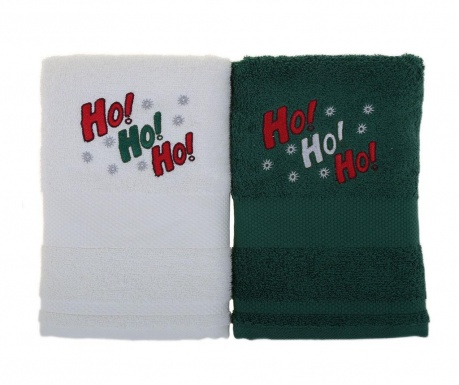 Σετ 2 πετσέτες μπάνιου Ho! Ho! Ho! White and Green 50x100 cm