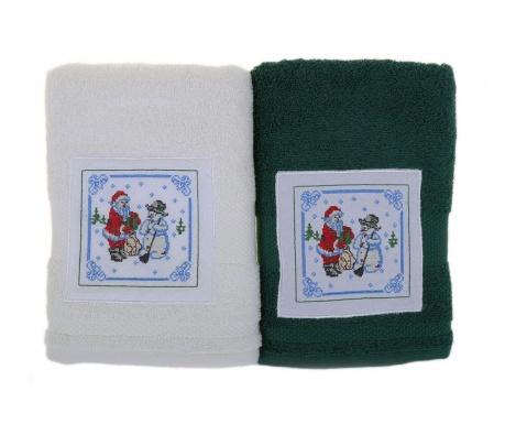 Σετ 2 πετσέτες μπάνιου Santa and Snowman White and Green 50x100 cm