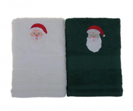 Σετ 2 πετσέτες μπάνιου Father Noel White and Green 50x100 cm
