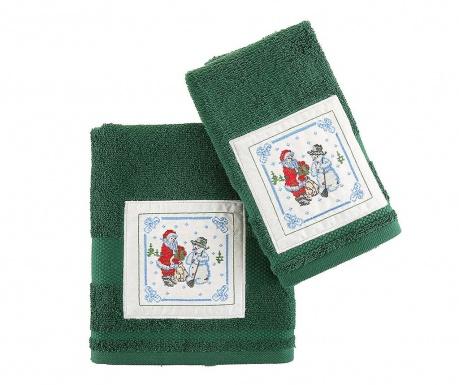 Σετ 2 πετσέτες μπάνιου Santa and Snowman Green