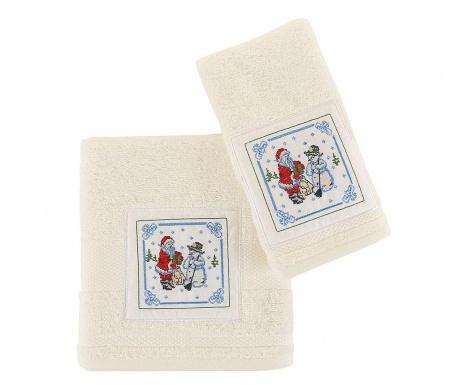 Σετ 2 πετσέτες μπάνιου Santa and Snowman White