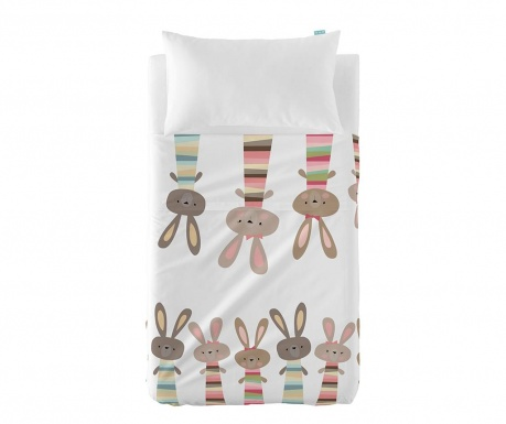 Set plahta za krevetić i jastučnica Little Rabbits Extra Uni