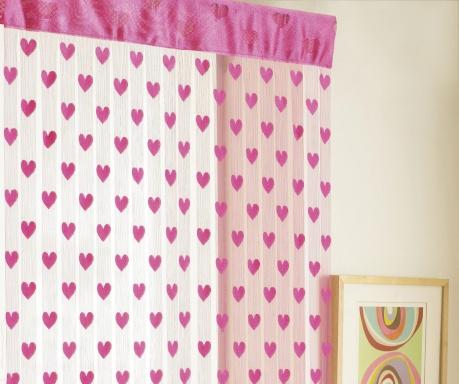 Zasłona na drzwi Hearts Pink 90x200 cm