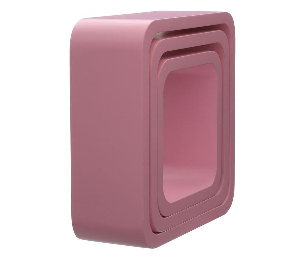 Set 3 zidne  police Cube Rounded Pink