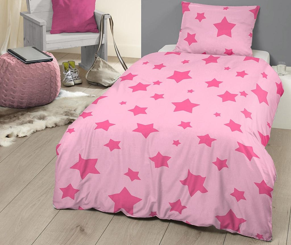 Posteljnina Single Ranforce Pink Stars