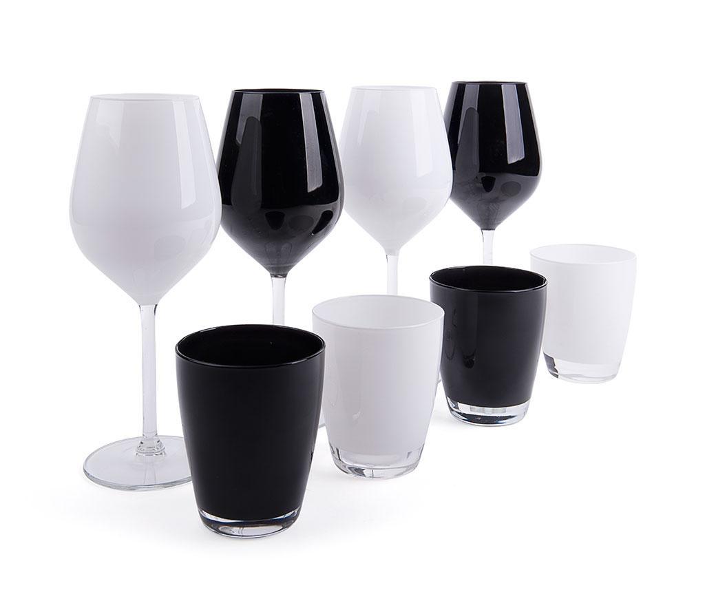 Set 8 kozarcev Faye Black & White