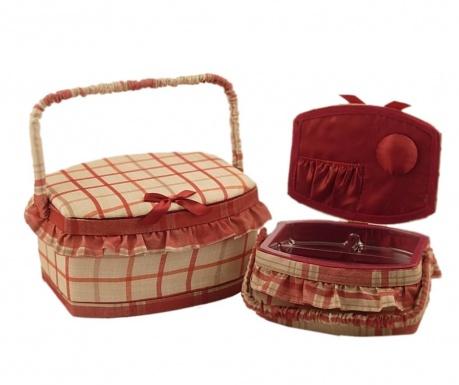 Set 2 košare za šivaći pribor s poklopcem Bombata Red