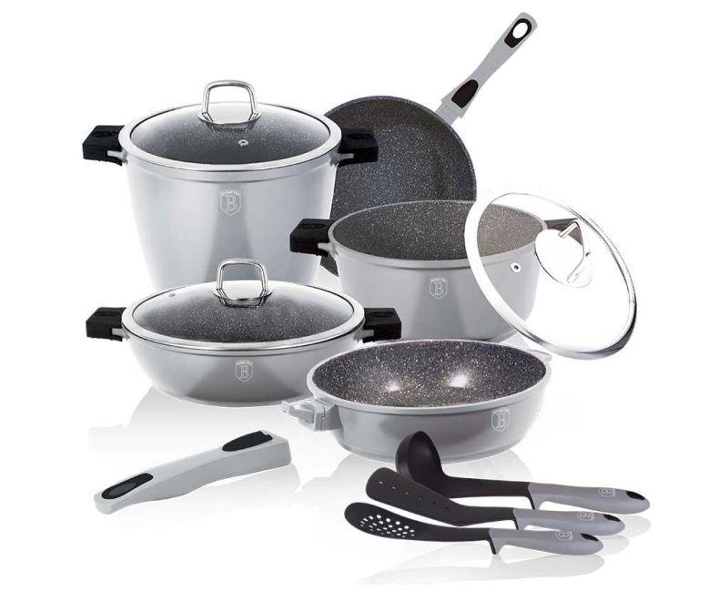 11-dijelni set posuda za kuhanje Granit Diamond Silver and Black