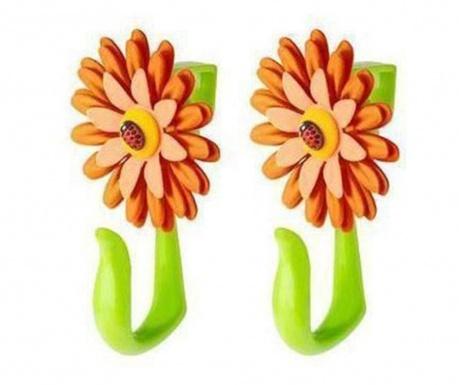 Σετ 2 κρεμάστρες πόρτας Flower Power Hook Orange
