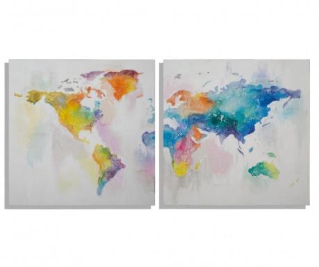 Sada 2 obrazů Mad World 100x100 cm