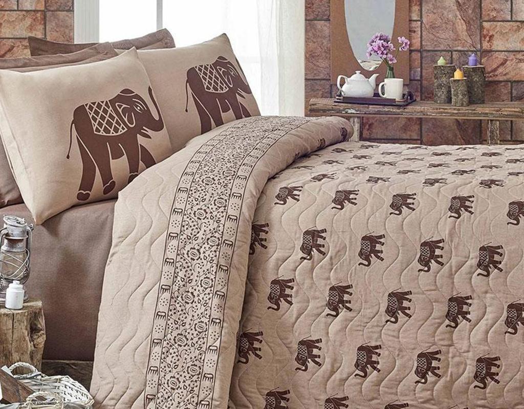 Комплект ватирана кувертюра Double Elephant Brown