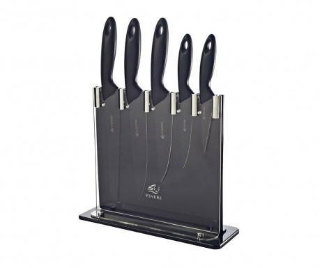 Set 5 cutite si suport Silhoutte Black