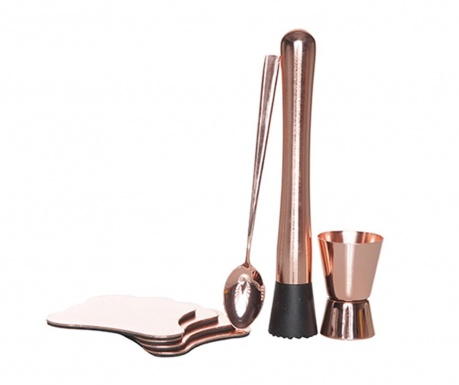 Siedmioczęściowy zestaw do koktajli Copper