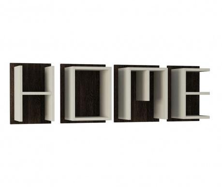 Zestaw 4 półek ściennych Home White Dark Wenge