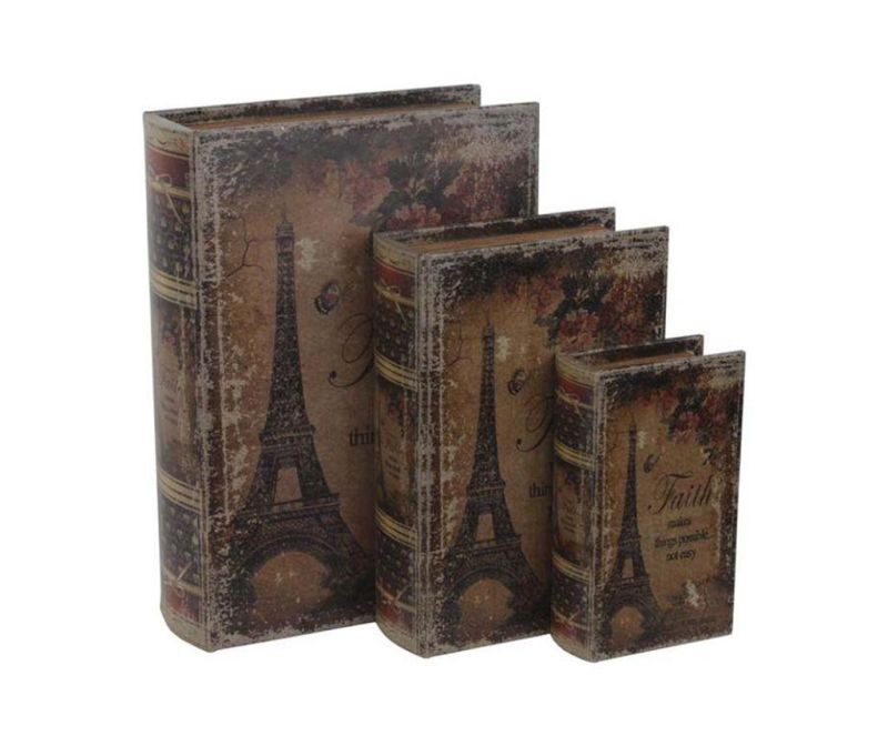 Set 3 škatel v obliki knjige Eiffel