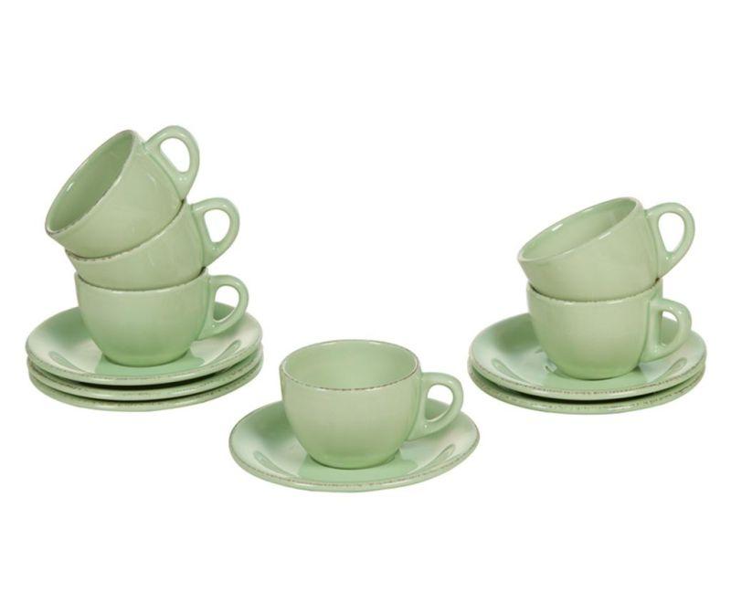 Set 6 skodelic in 6 krožničkov Amelie Green