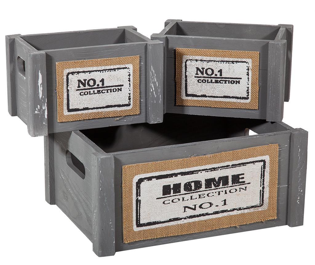 Set košara za rublje s poklopcem i 5 kutije za spremanje Home Grey