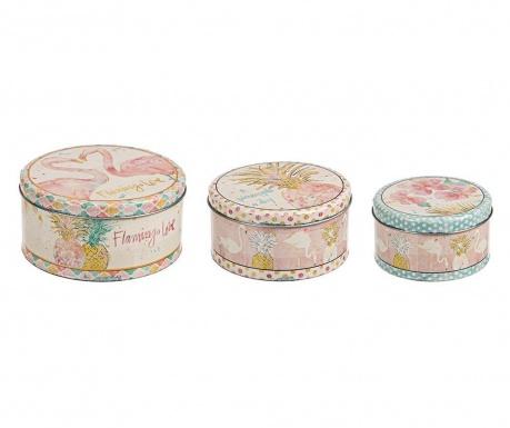 Set 3 kutije s poklopcem Flamingo Love