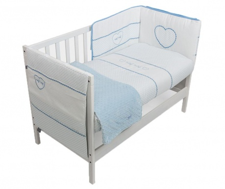 Set - otroška posteljica in dodatki Heart Blue