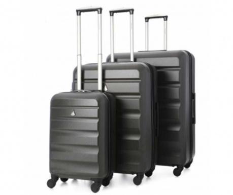 Sada 3 cestovních kufrů na kolečkách Adelaide Charcoal