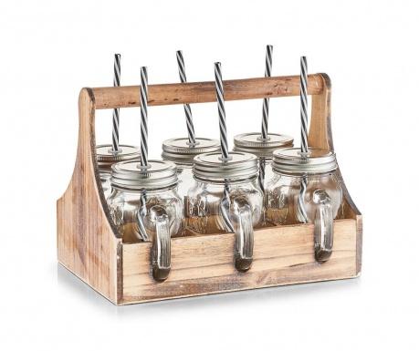 Set 6 skodelic s pokrovom in slamico z držalom Neva