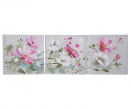 Garden Flowers 3 db Festmény 30x30 cm