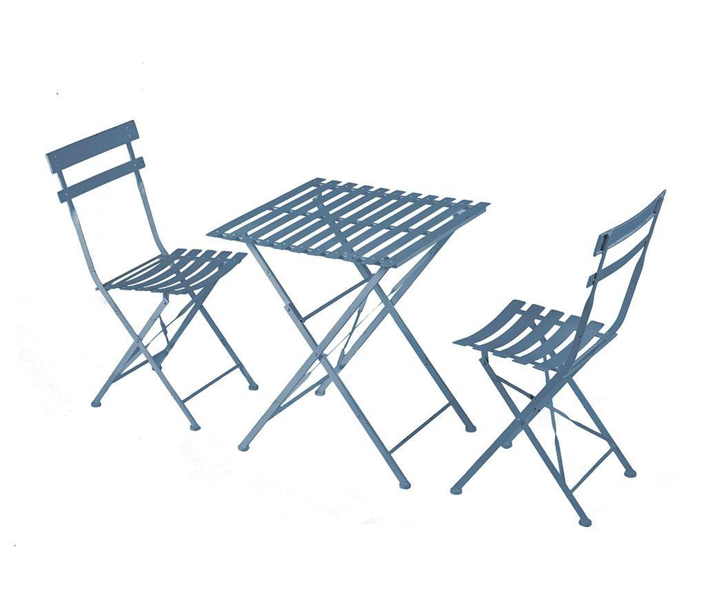 Sada stôl a 2 exteriérové sklopné stoličky Cristine Blue