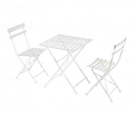 Sada stôl a 2 exteriérové sklopné stoličky Cristine White