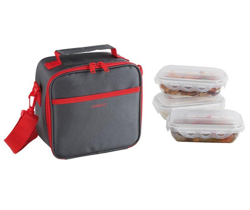 Set 3 caserole si geanta pentru pranz Nomad Red