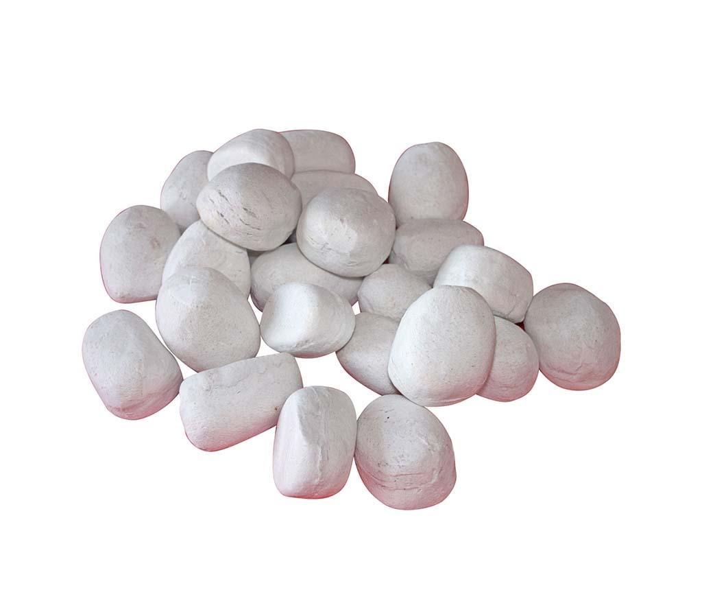 24 dekoracij za kamin Pebbles White