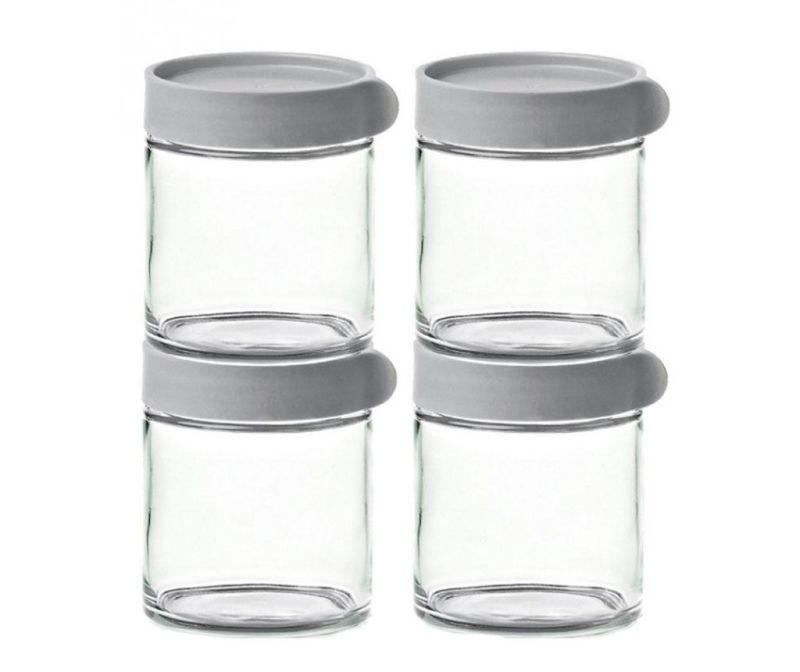 Set 4 recipiente cu capac ermetic Block Grey 400 ml