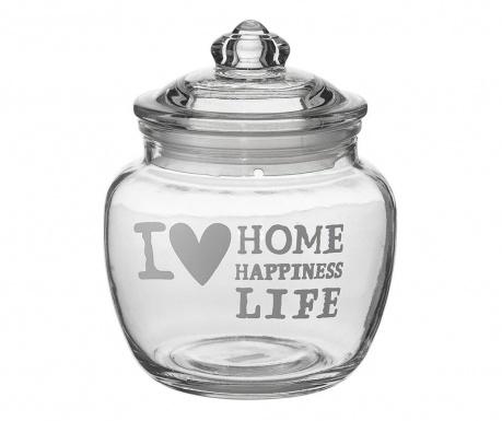 Borcan cu capac ermetic I love Home 650 ml