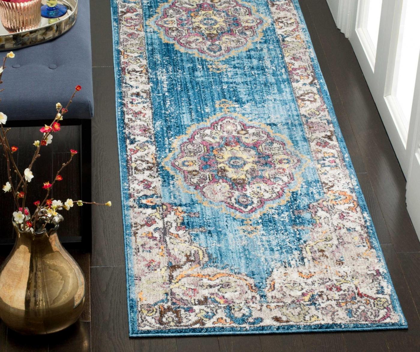 Aimee Blue and Light Grey Szőnyeg 62x240 cm