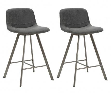 Set 2 barskih stolov Arkansas Dark Grey