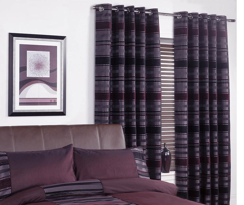 Set 2 zastora New York Aubergine 168x183 cm
