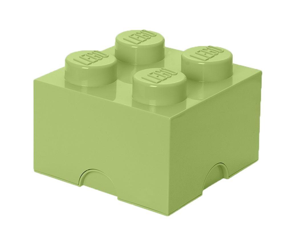 Kutija s poklopcem Lego Square Four Yellowish Green