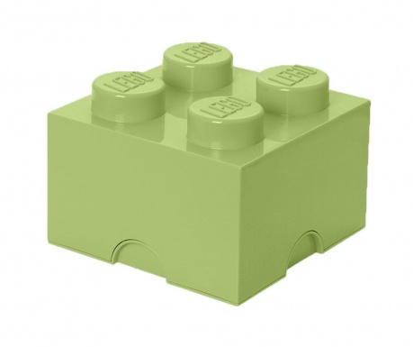 Škatla s pokrovom Lego Square Four Yellowish Green