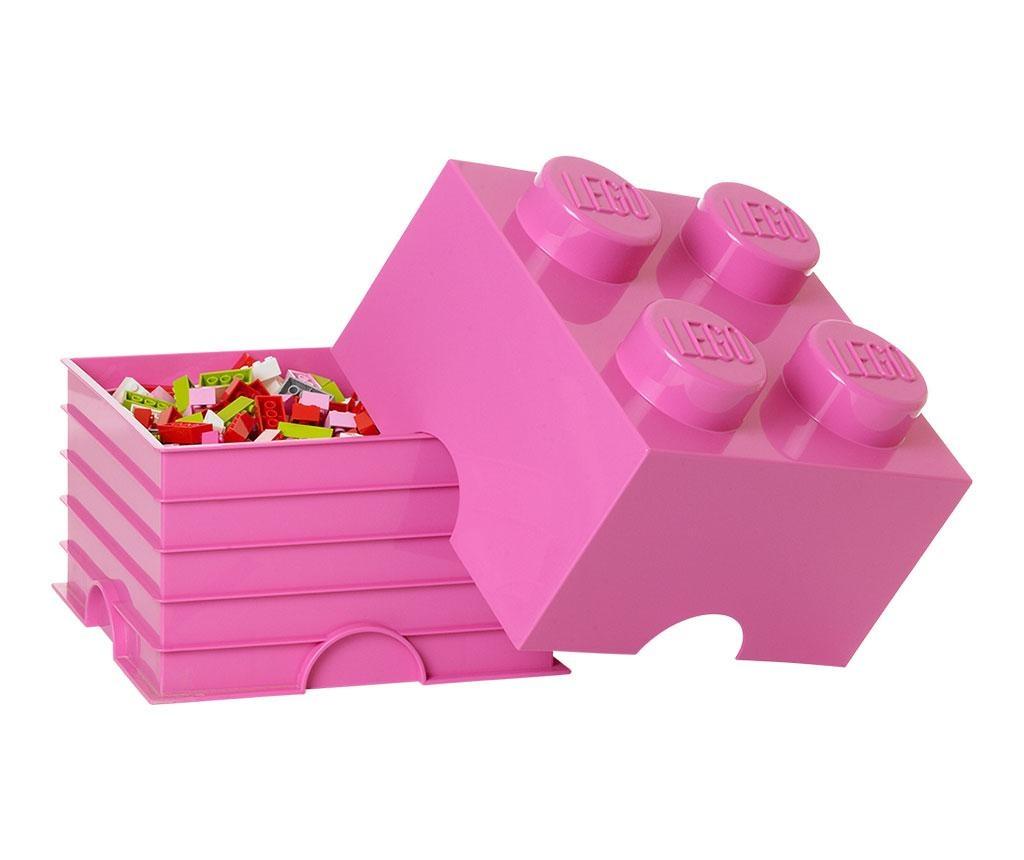 Cutie cu capac Lego Square Four Pink