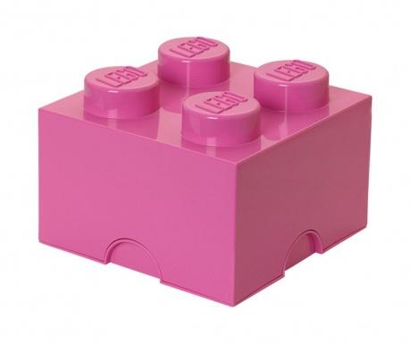 Škatla s pokrovom Lego Square Four Pink