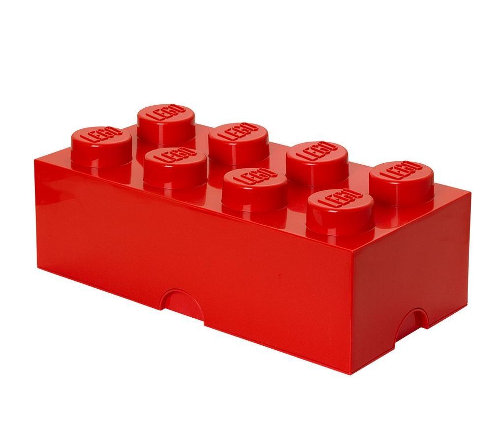 Škatla s pokrovom Lego Rectangular Extra Red