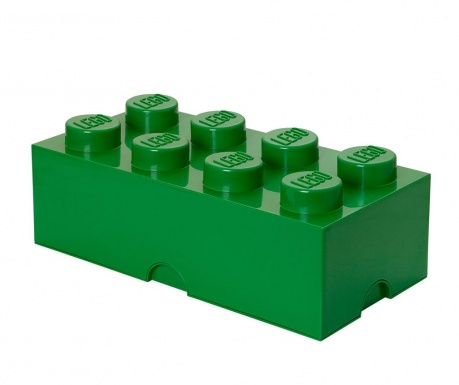 Lego Rectangular Extra Dark Green Doboz fedővel
