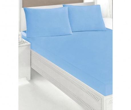 Zestaw prześcieradło z gumką elastyczną i 2 poszewki na poduszkę Double Microfiber Blue