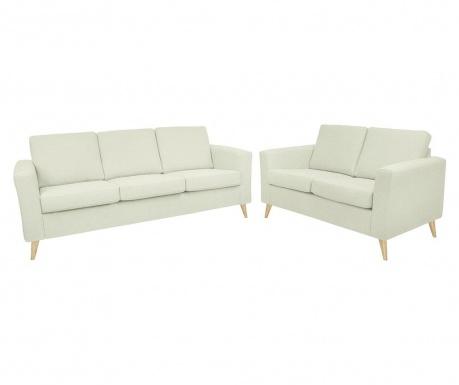Set canapea 3 locuri si canapea 2 locuri Alex Beige Wooden Legs